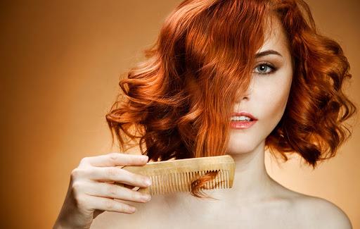 girl's combing hair