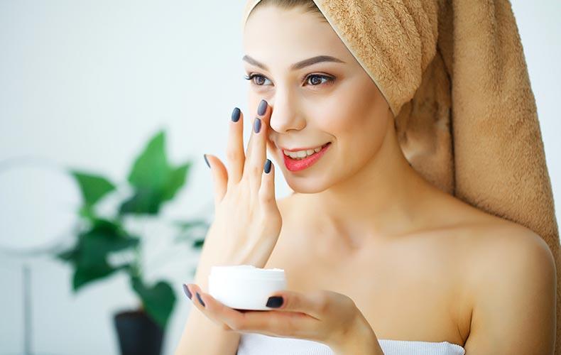 under-eye cream application
