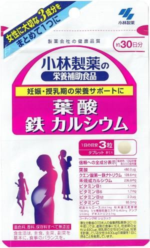 Kobayashi Pharmaceutical Iron + Calcium + Folate